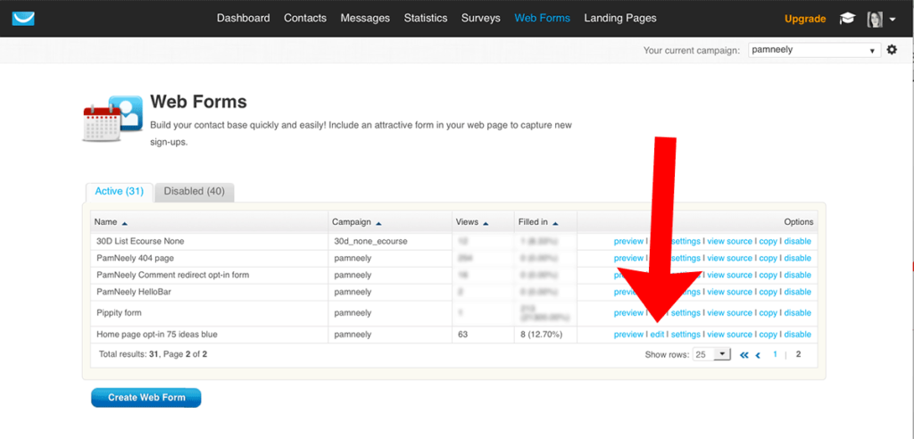 """Sample of """"edit"""" in Web Forms to customize the page after opt-in"""