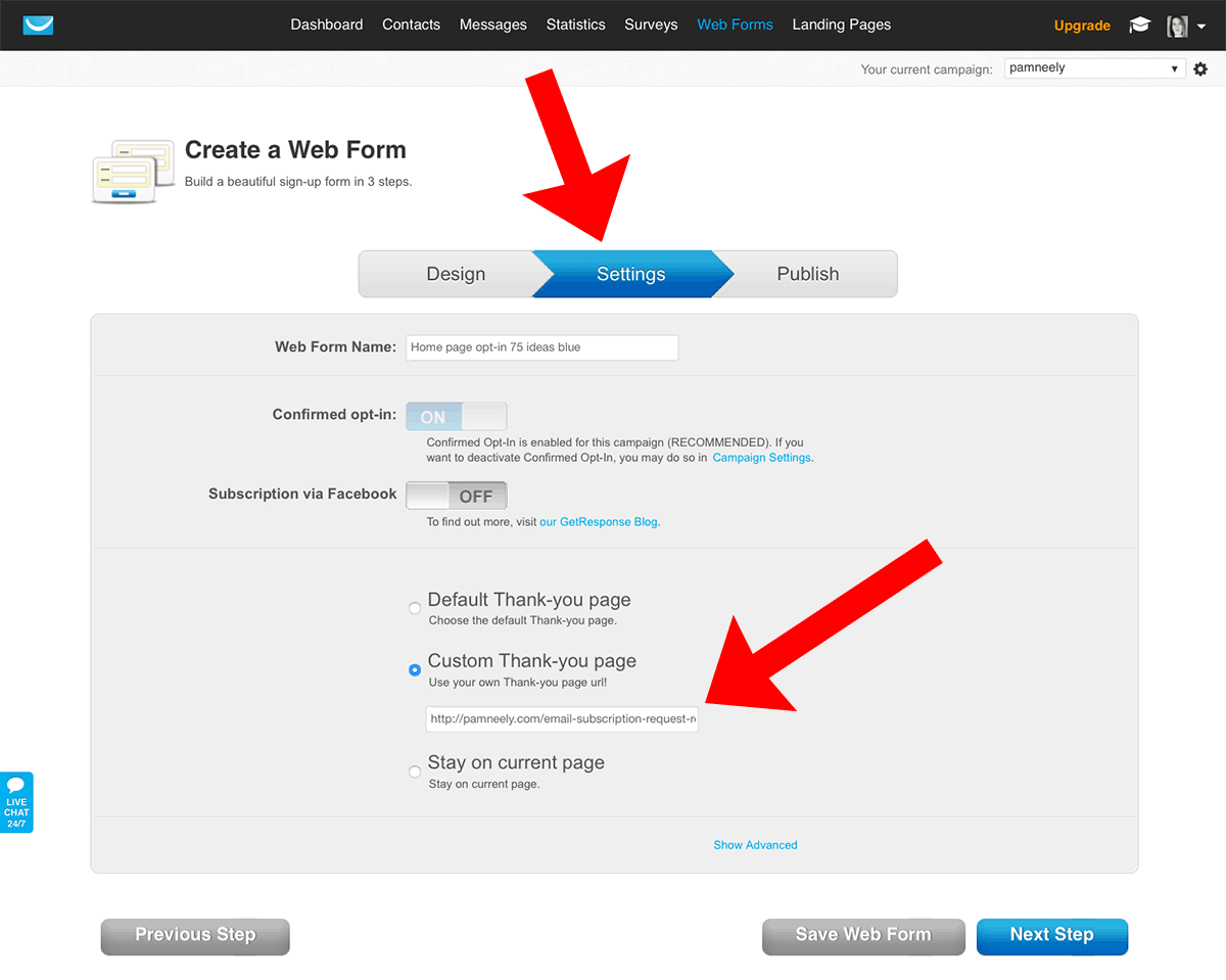 "Sample of ""setting"" of Web Forms to customize the page after opt-in"