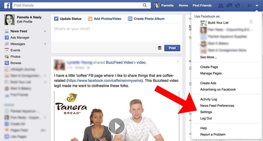 "Sample of ""Settings"" in Facebook"