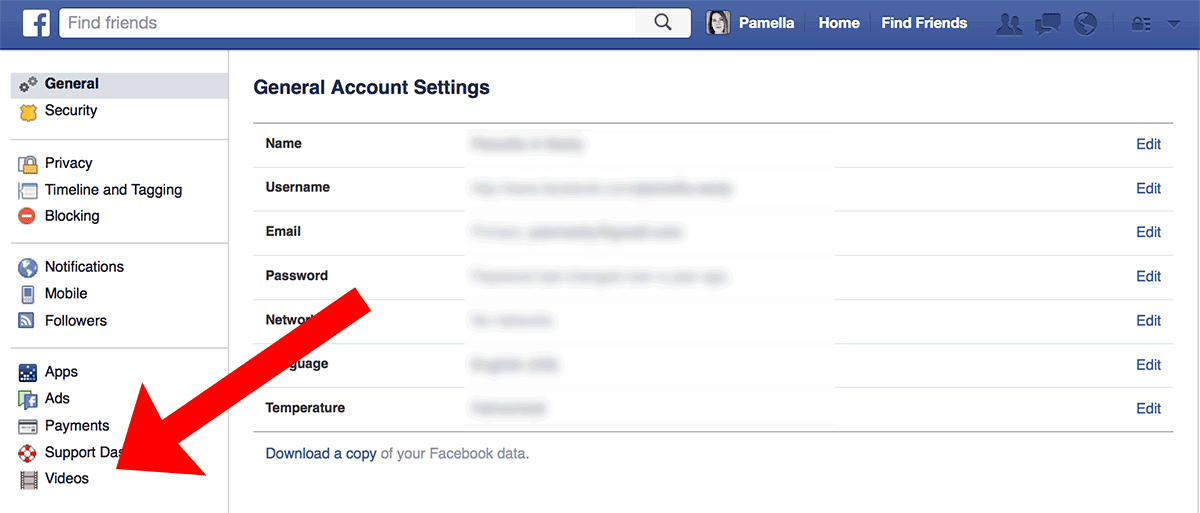 "Sample of ""Videos"" in Facebook settings"