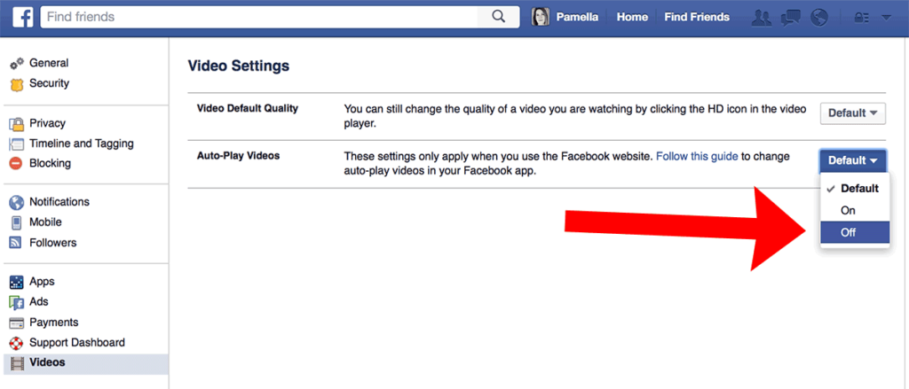 """Sample of """"Auto-Play"""" in Facebook video settings"""