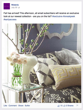 Sample of an announcement post in Facebook for your email list