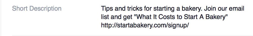 "Sample of ""Short Description"" for Facebook About description to build email list"