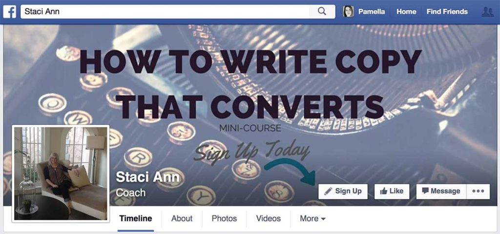 Sample of add a call-to-action in Facebook cover photo to build email list