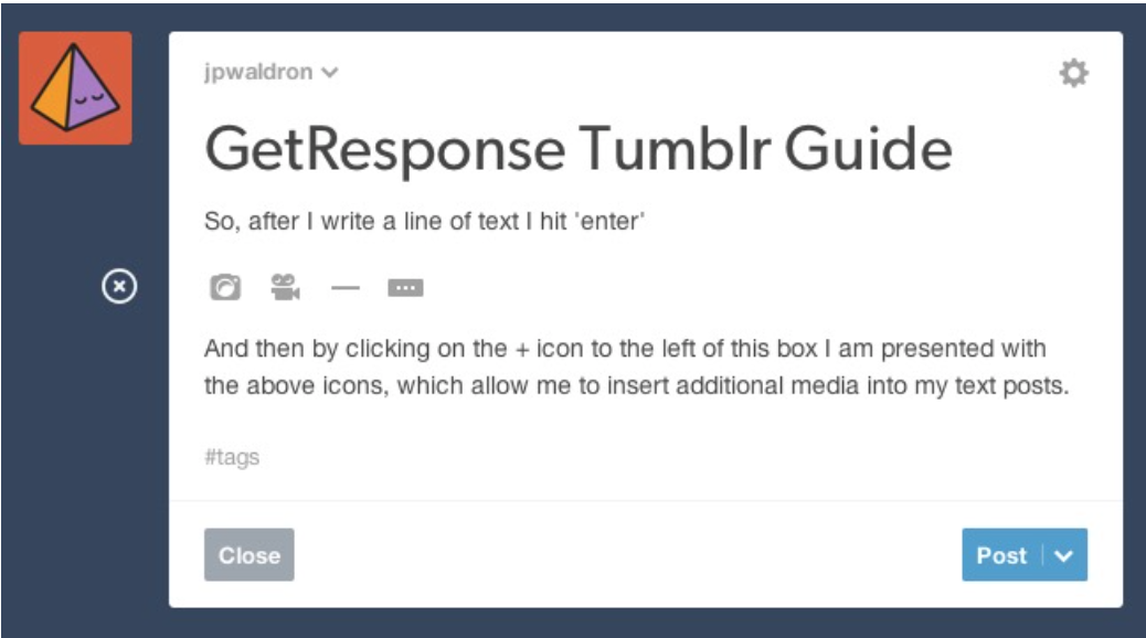 """Sample of """"Pop-up"""" in Tumblr"""
