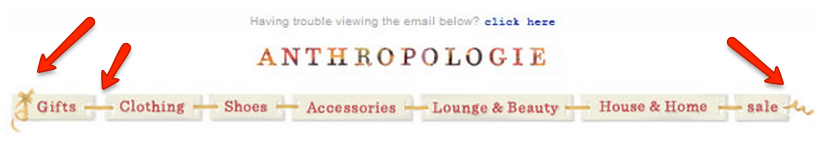 Example of themed email by Anthropologie