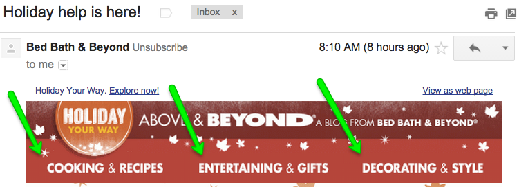 Example of link to holiday blogs in Email by Bed Bath & Beyond