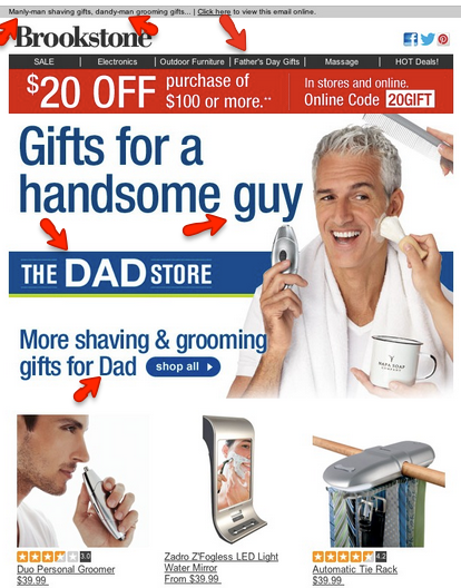 Example of themed email for Father's Day by Brookstone