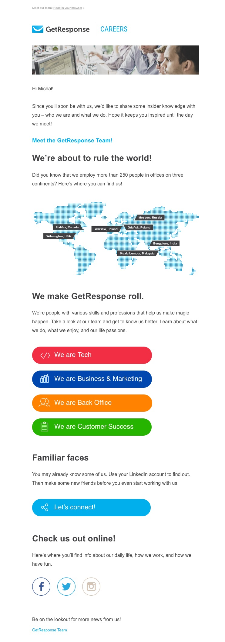 Employee Onboarding Email for New GetResponse Team Membrs
