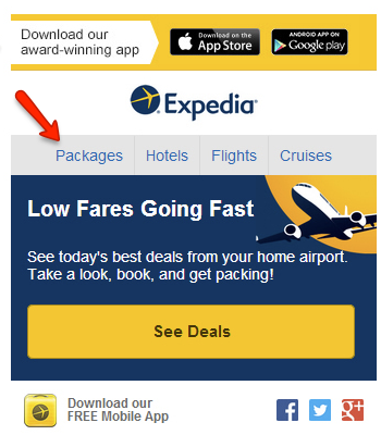 Example of short mobile navigation bar by Expedia