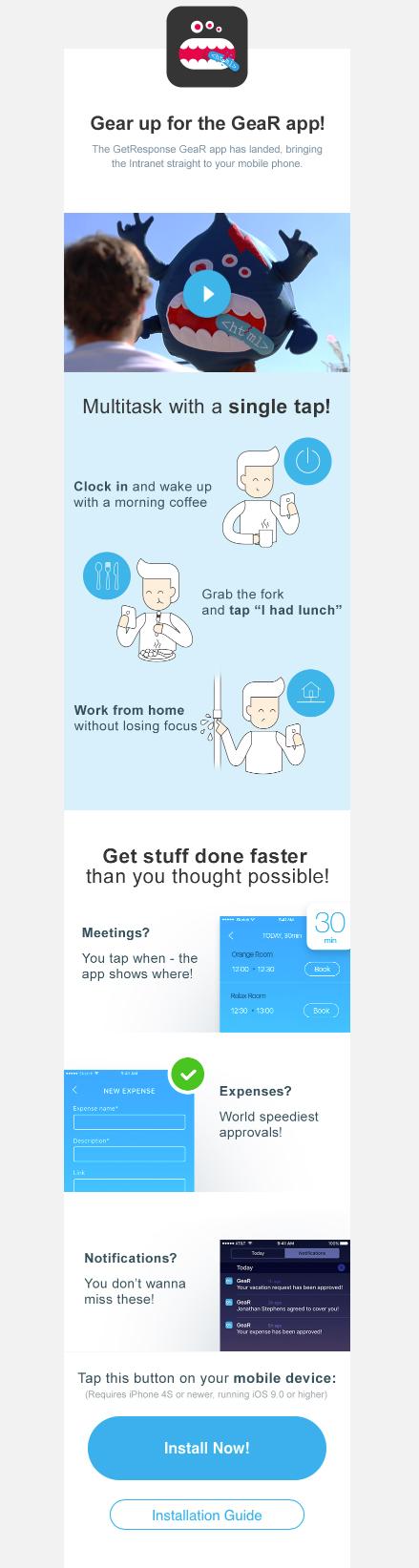GetResponse internal newsletter informing new employees about an internal app