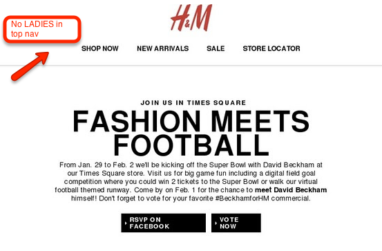 Example of special segmentation in navigation bar by H&M