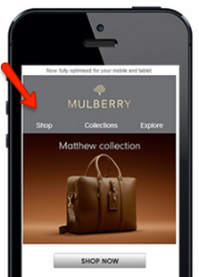 Example of scaled-down mobile navigation bar by Mulberry