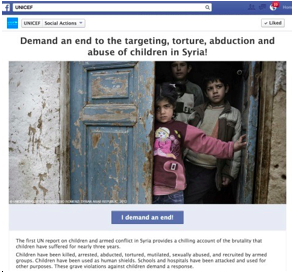 "Sample of add people to UNICEF's email list by just click on the ""Demand"" button"