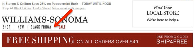 Example of themed email for Black Friday by Williams-Sonoma
