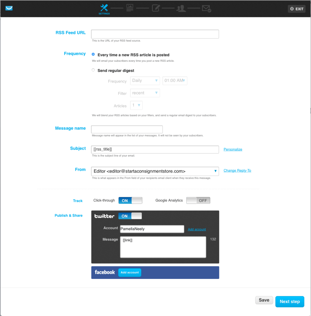 This is the first screen you'll see when you set up an RSS to email automation in your GetResponse account.
