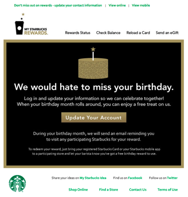 Starbucks email newsletter asking users to update their account
