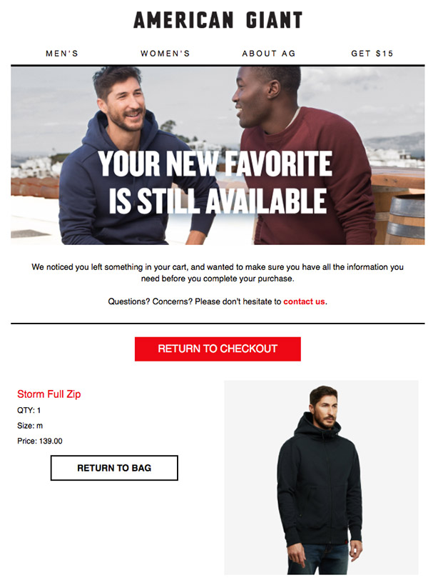 Cart abandonment email from American Giant