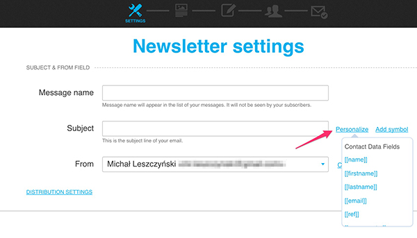 Email subject line personalization in GetResponse