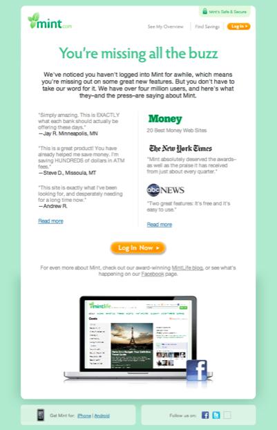 Mint Reactivation Newsletter