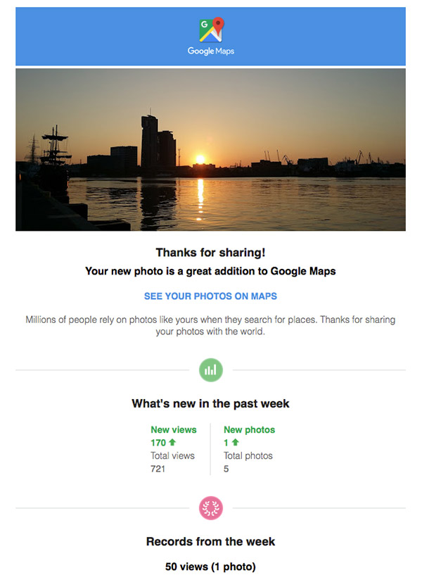 Google Maps personalized email saying thanks for submitting photos
