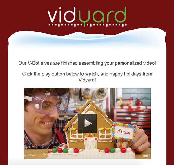 Personalized email video from Vidyard