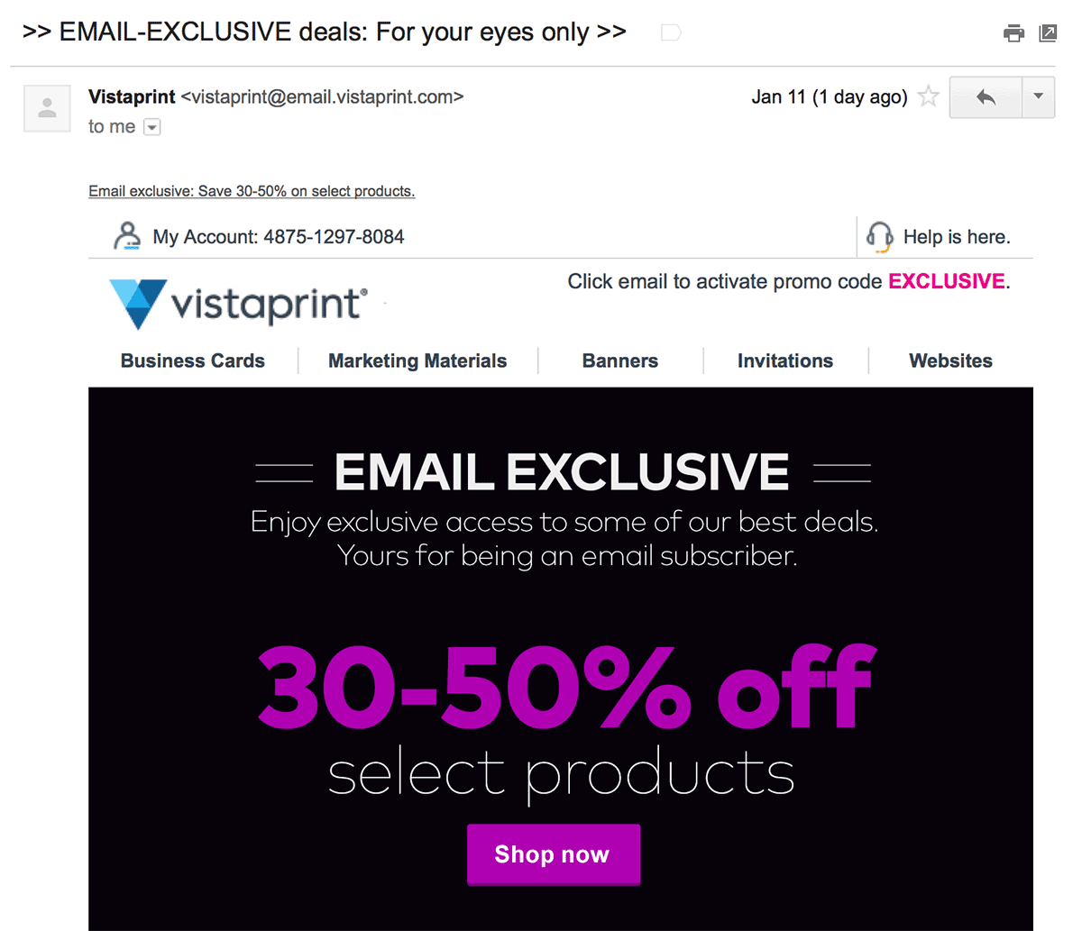 ExclusiveOfferVistaprint
