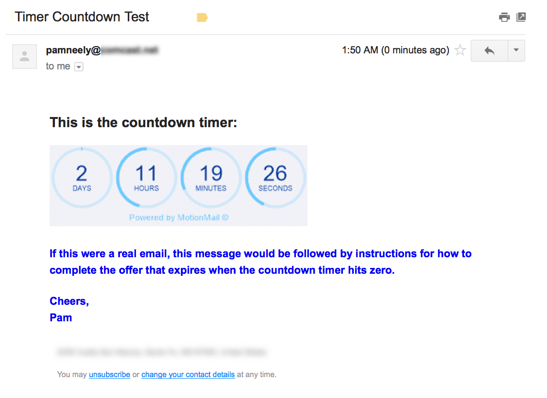 Countdown timer in email