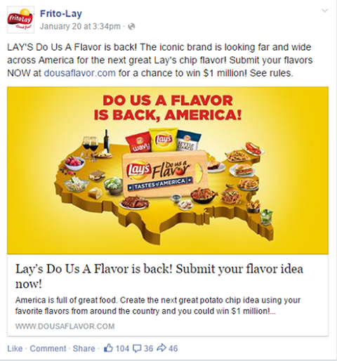 Lay's facebook product launch tactics