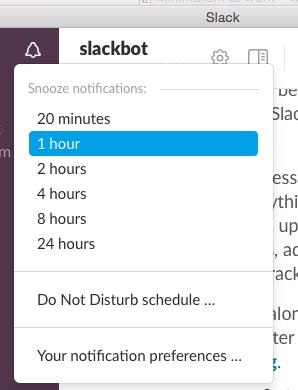 Slack settings