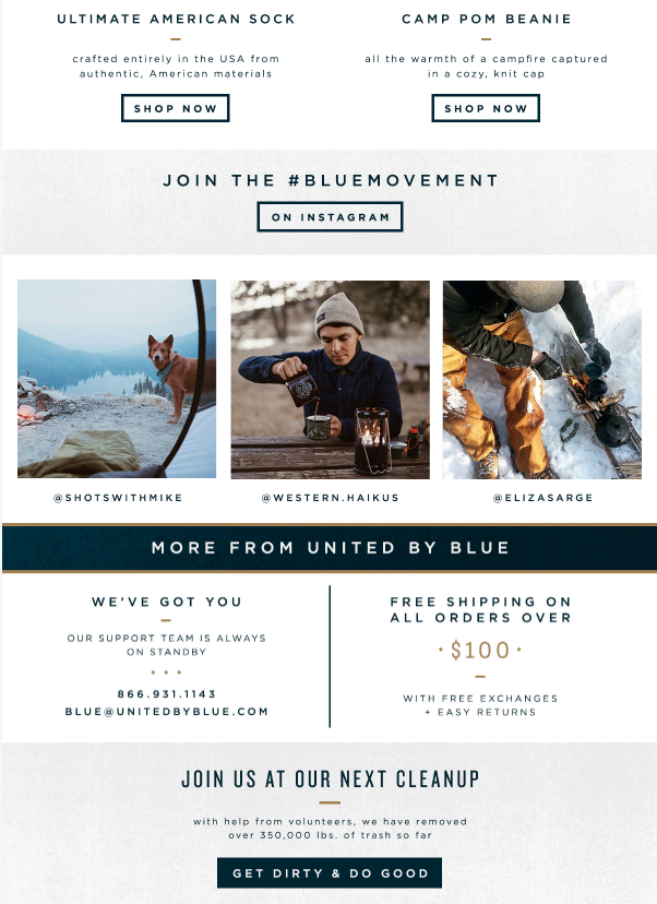 Featuring Instagram photos in an email newsletter from United by Blue