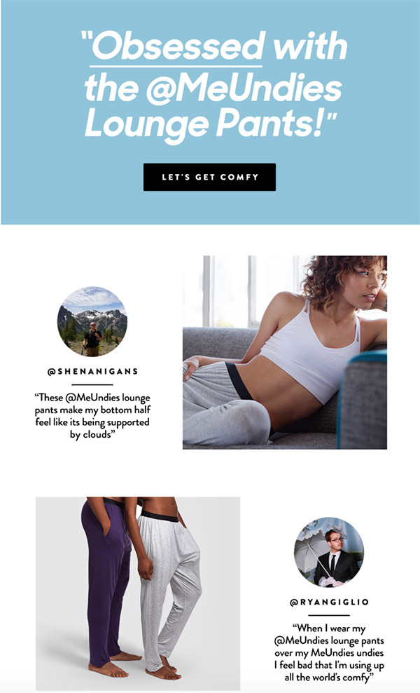MeUndies using photos and quotes as a social proof
