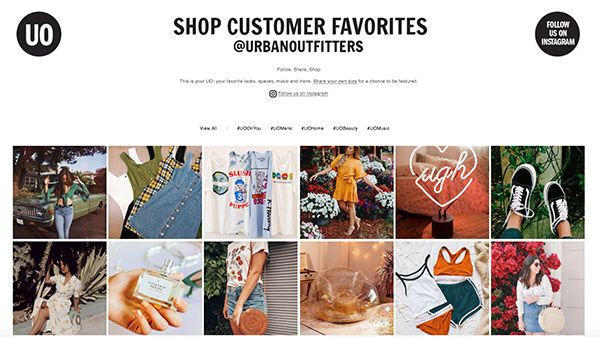 Urban Outfitters community website featuring their customers' Instagram photos