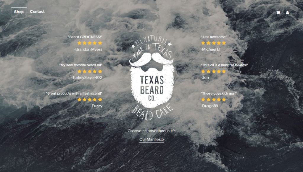Texas Beard company selling their products online