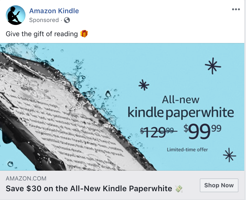amazon kindle social ads targeting