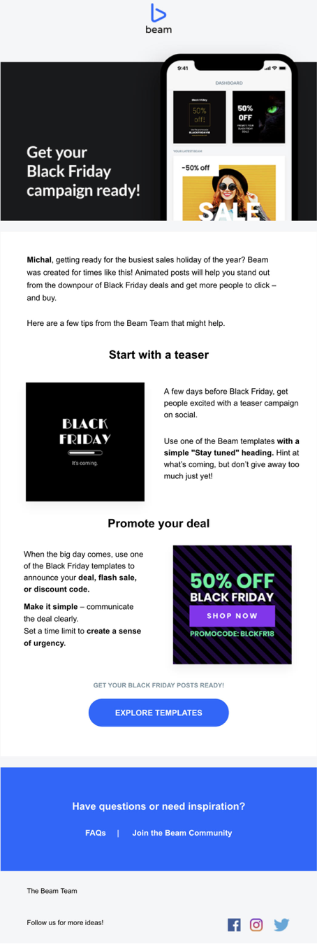 beam promo email black friday