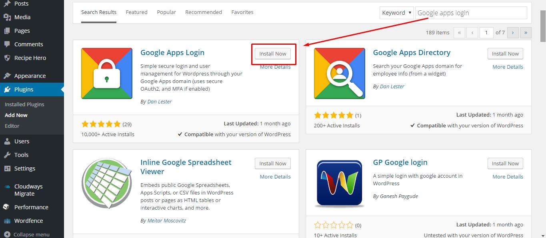Google Apps WordPress