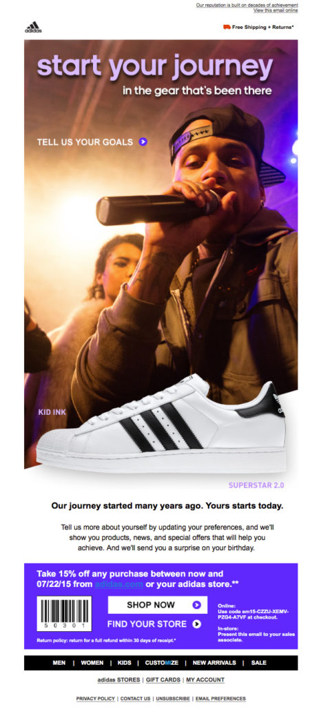 Adidas surveying and asking their users for feedback