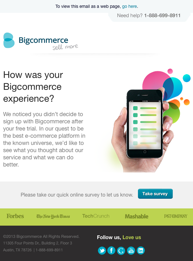 Survey email from Bigcommerce