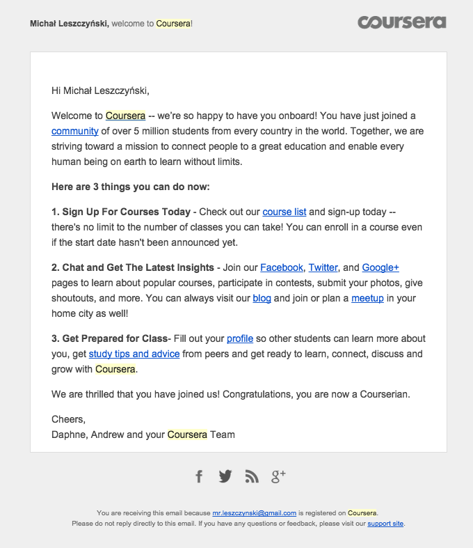 Coursera newsletter welcoming new email subscribers