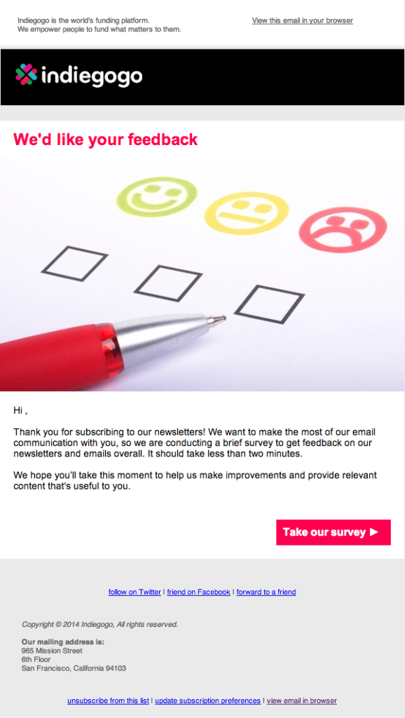Survey email from Indiegogo