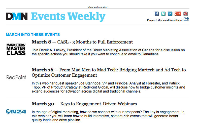 DMN newsletter promoting partnership webinars