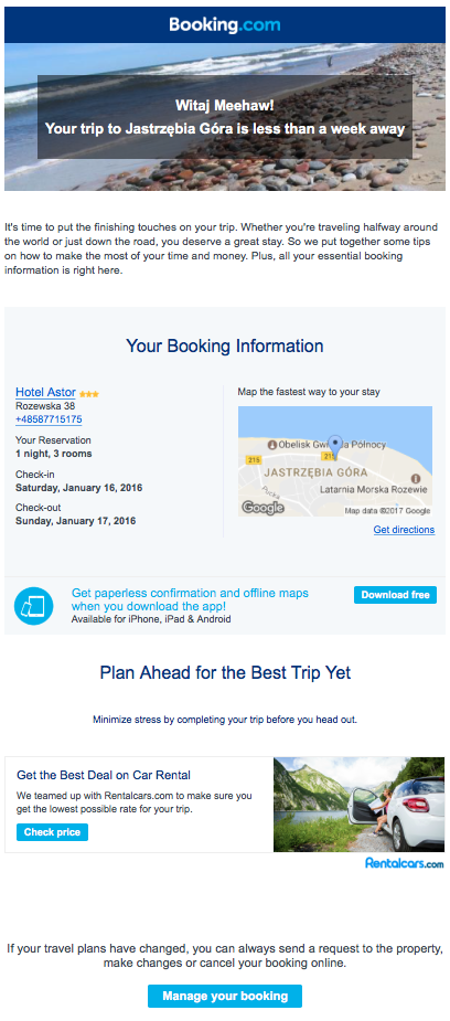Booking summary and reminder with the directions for the arrival