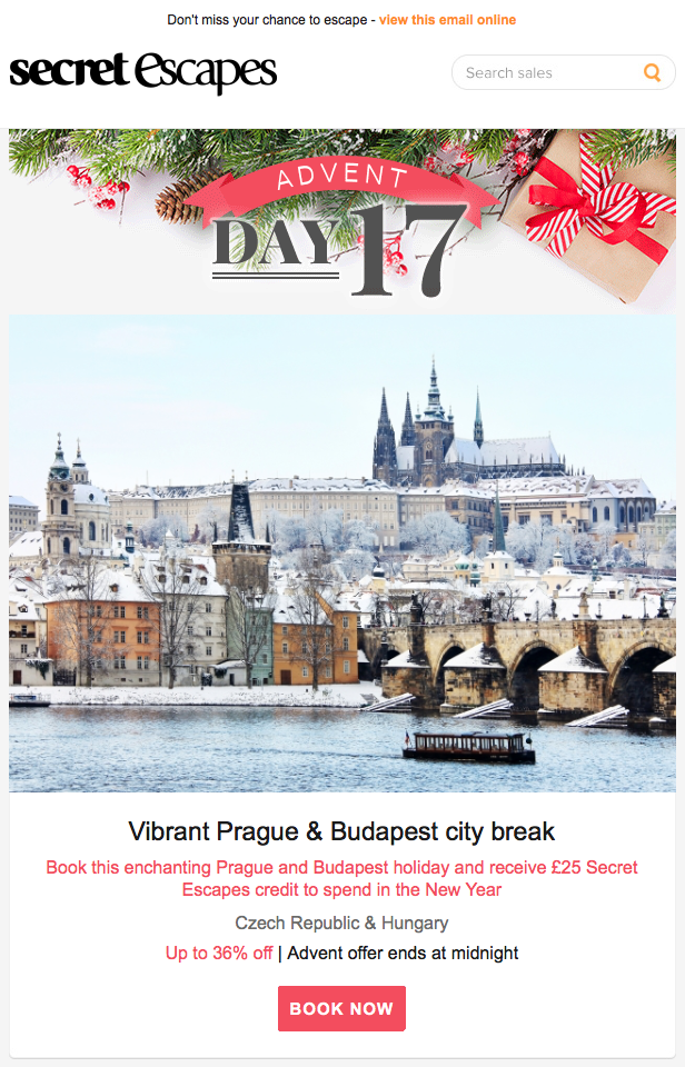 Advent calendar themed newsletter promotion by secret escapes