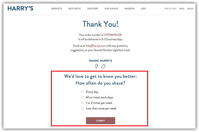 thank you page survey example