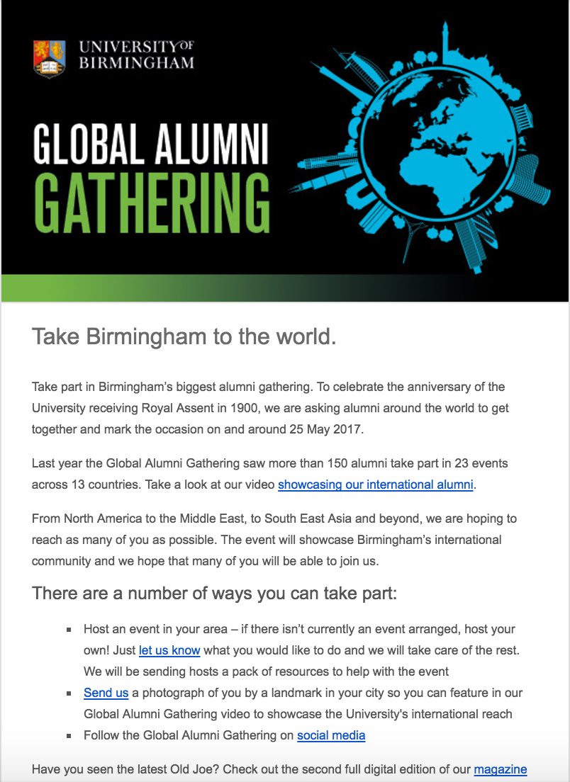 University of Birmingham higher education marketing automation goals