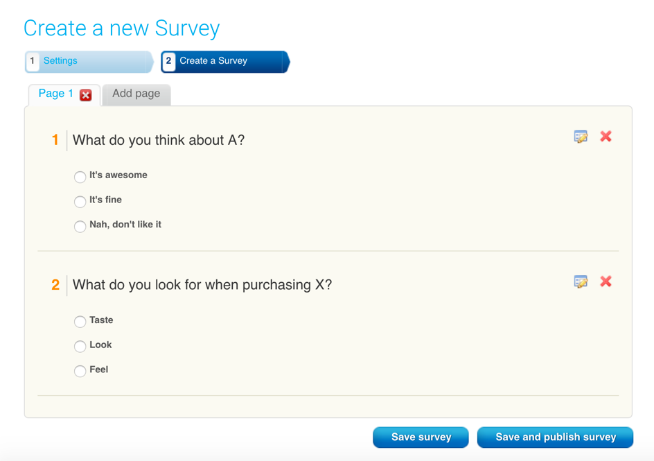 example of create a survey in a thank you page