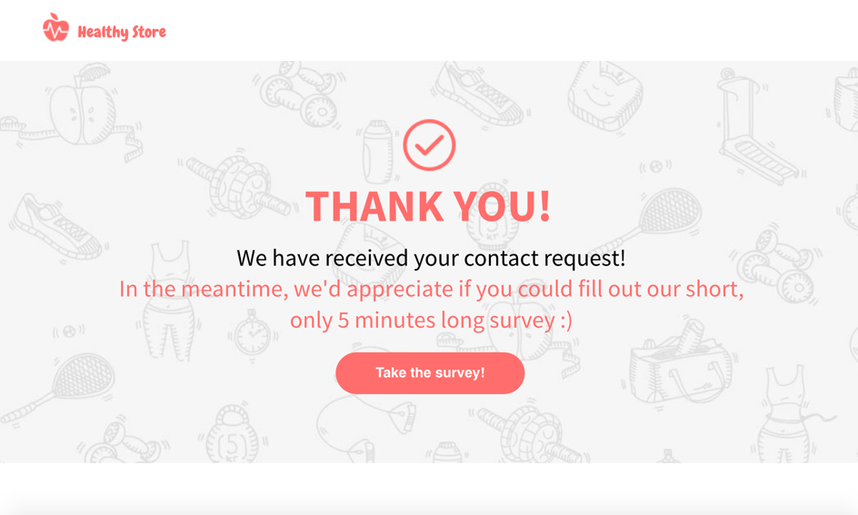 example of have a call-to-action button in a thank you