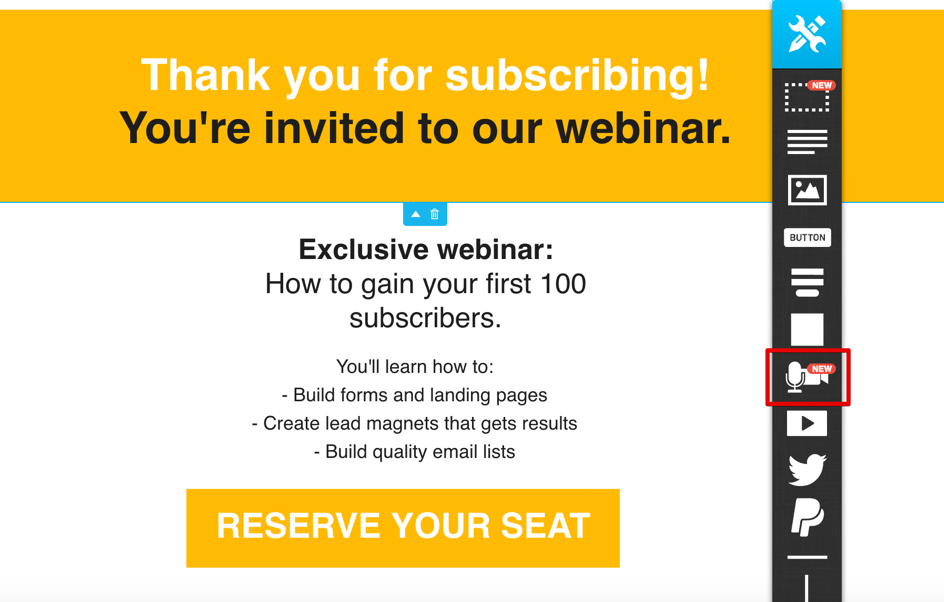 example of insert a webinar invitation in a thank you page