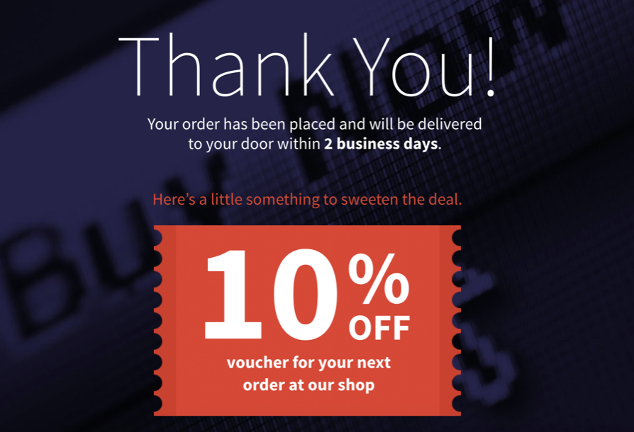 example of a thank you page offering a discount